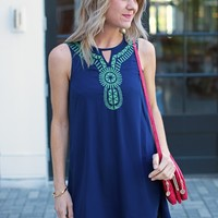 Golbal Inspired Shift Dress-Aztec Sleeveless Shift Dress-$75.00 | Hand In Pocket Boutique