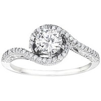 Silver Bypass Vintage Engagement Ring with CZ (0.72 ct. twt.)