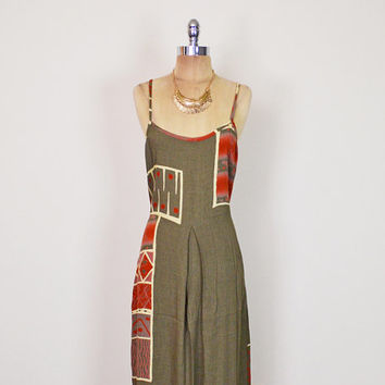 Vintage 90s Brown Tribal Dress Tribal Print Dress Ethnic Dress Gauze Dress Maxi Dress 70s Hippie Dress Hippy Dress 70s Boho Dress L Large