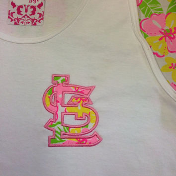 Stl Boyfriend tank made with Lilly Pulitzer fabric