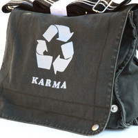 Cool funny karma messenger bag in charcoal by SpencerButteInk