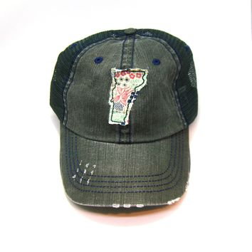 Vermont Trucker Hat - Distressed - Floral Fabric State Cutout