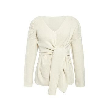 Wrapper's Delight Long Sleeve Cross Wrap V Neck Twist Wrap Pullover Sweater - 5 Colors Available