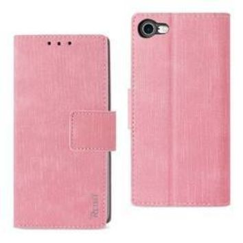 REIKO IPHONE 7/ 6/ 6S DENIM WALLET CASE WITH GUMMY INNER SHELL AND KICKSTAND FUNCTION IN PINK