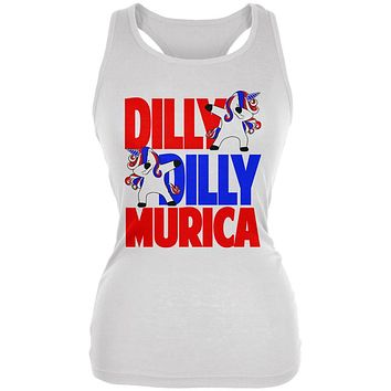 4th of July Dilly Dilly Murica Dabbing Unicorn Juniors Soft Tank Top
