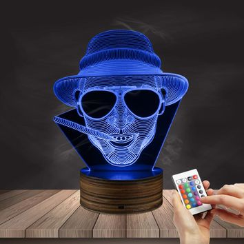 1Piece Steampunk Man In Hat 3D Illusion Night Lamp Smoking Gentleman Glowing LED Lights Cigar Smoking Man Portrait Cave Lamp