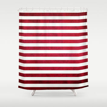 Red And White Stripes On Fabric Texture Shower Curtain by Inspired By Fashion