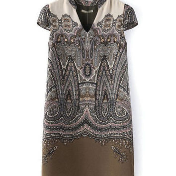 Brown Totem Print V-Neck Short Sleeve Mini A-line Dress