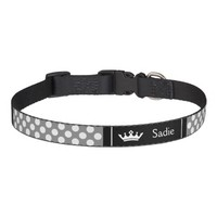 Black And Grey Crown With Polka Dots Dog Collar
