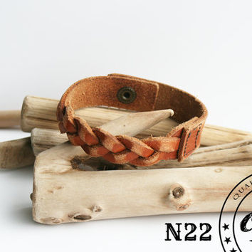 Genuine hand-stitched braided leather bracelet - leather wristband - leather cuff - perfect gift -  Friendship bracelet -  Free shipping