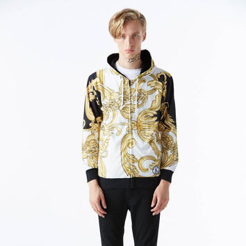 Autumn tops fashion hoody zipper jacket for men 3d sweatshirt print golden flowers lovely hooded hoo