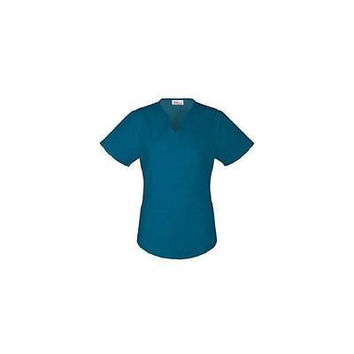 Vital Threads Women's Split V-Neck Core Scrub Top, Small, Caribbean Blue, 77948