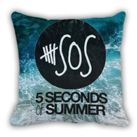 5 Second of Summer Beach Logo Throw Pillow Cover