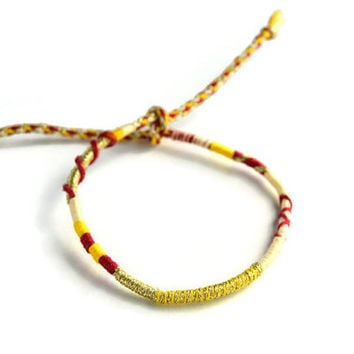 Sparkly Gold and Red, Friendship Bracelet and Anklet, Red, Yellow and Tan Wanderlust Friendship Anklets