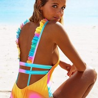 Sexy Women V Collar Falbala Fashion Multi-Color Flower Print Backless One Piece Bikini Swimsuit Bathing