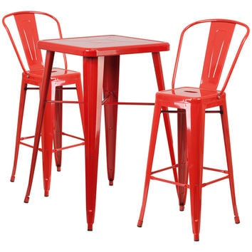 23.75'' Square Red Metal Indoor-Outdoor Bar Table Set with 2 Barstools