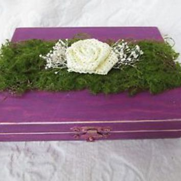 Plum and Moss Rustic Aged  His Hers Divided Wedding Ring Box