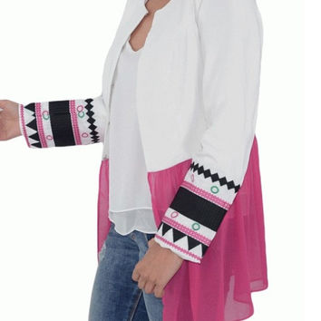 Boho style jacket in white color with ethnic embroidery, Pink