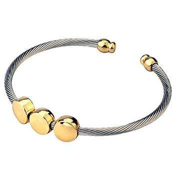 CHRAN Silver Stainless Steel Twisted Cable Cuff Bangle Bracelet Simple Round Pearl Women Jewelry 74