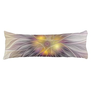 Luminous Colorful Flower, Abstract Modern Fractal Body Pillow