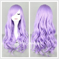 Purple Wig Cosplay Wigs Curly Wigs for Women 27 inches Harajuku anime Long Costume Wigs with Side Bangs Christmas KARNEVAL ehba