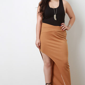 Slanted Slit Zipper Maxi Skirt