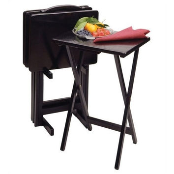 Set of 4 Folding TV Tray Tables with Stand in Black Finish