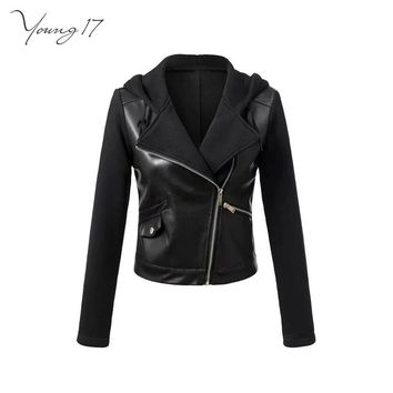 Faux Leather Jackets Women Hooded Jacket Black Patchwork Zipper PU Coat Punk Motorcycle