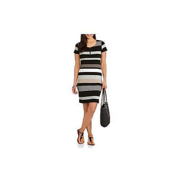 Allison Brittney Women's Engineer Striped Zipper Dress, Neutral, Medium