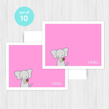Elephant Hello Greeting Card Set Blank Handmade Notecards Note Cards Boxed Set Stationery Any Occasion Gifts Gift Ideas For Her Pack of 10