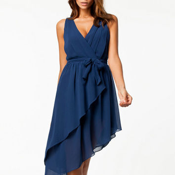 Dark Blue V-Neck Sleeveless Flounced Bowknot Irregular Chiffon Midi Dress