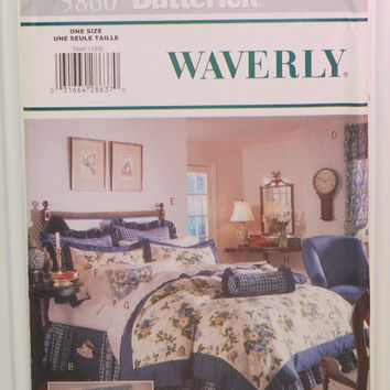 Butterick 5860 (c. 1998) Waverly, Bedroom Decor, Dust Ruffle, Bed Caddy, Duvet Cover, Valance, Drapes, Pillow, Home Decor, Cottage Decor