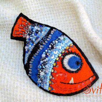 Orange Fish,Textile Jewelry, Art Felt Brooch,Beaded Embroidery  Sea Fairy