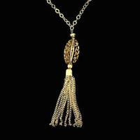 Long Tassel Necklace In Gold Tone, With Large Filigree Bead, Adjustable Length