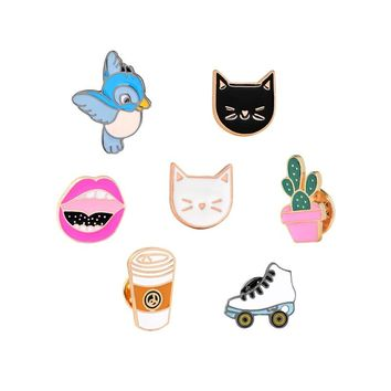 Potted Plant White Black Cat Red Lip Bird Skating Shoes Coffee Brooch for Kids Girls Boys Pins Denim Jacket Clothing Pin Badge