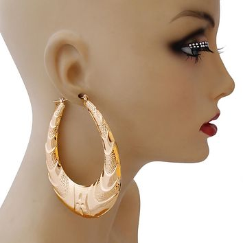Large Gold Teardrop Hoop Earrings