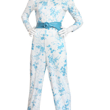 Vintage 70s White/Blue Floral Romper, Jumpsuit | Women's Size Large | 60s 1970s Costume, Belted