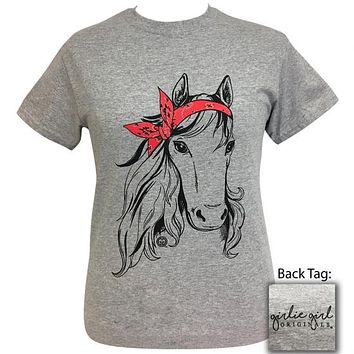 Girlie Girl Originals Preppy Bandana Horse Grey T-Shirt