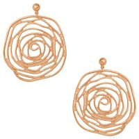 JULIE SWIRLED ROSE STATEMENT EARRING IN ROSE GOLD
