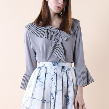 Pleated Frills Crepe Top in Grey