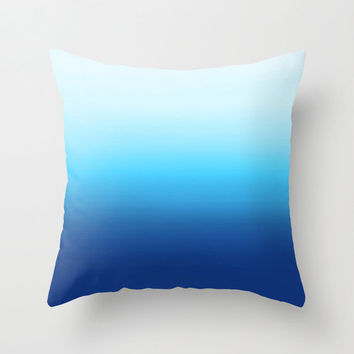 Throw Pillow in Dip Dye Blue and Turquoise
