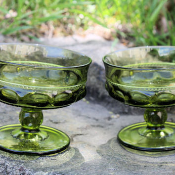 Vintage Green Glass Pudding Cups,Dessert Dish,Candy Dishes,Green,Ice Cream