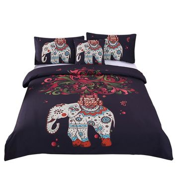 BeddingOutlet Boho Bedding Set Indian Elephant Black Bohemia Duvet Cover Bedspread Twin Full Queen King Bed Set 4Pcs