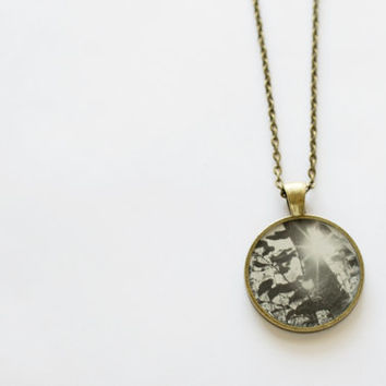 Jewelry Pendant Photo B&W Photography Jewelry Black and White Photo Print Necklace Nature Photography Spot of Sun and Leaves Art Necklace