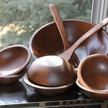Vintage Walnut Wood Salad Bowl Set - Including Large Wood Serving Bowl, 6 Wood Salad Bowls and Utensils