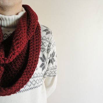Extra Large Chunky Men's Scarf / Infinity Men's Scarf / Men's Loop Circle Thick Scarf Burgundy