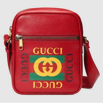 GUCCI Classic Trending Women Men Leather Single Shoulder Bag Zipper Crossbody Satchel Red