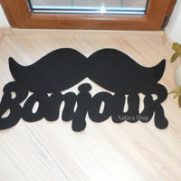 "Door mat ""Bonjour"" with mustache. Elegant doormat moustache. Welcome rug"