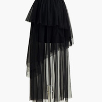 Black Asymmetrical Tiered Mesh Maxi Skirt