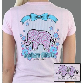 Southern Attitude Preppy Classy Elephant Pink T-Shirt